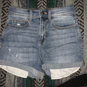 Sneak peek high rise denim shorts